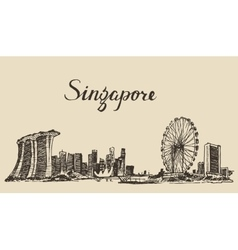 Singapore architecture hand drawn sketch vector image vector image