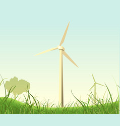 Spring and summer windmills poster vector