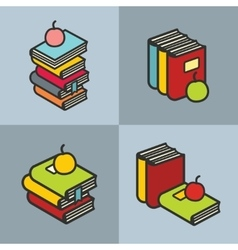 Stack of books with apple in line flat style vector image vector image