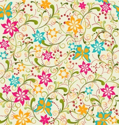 summer pattern Butterfly and Flower vector image vector image