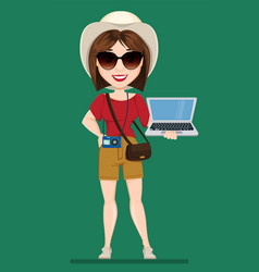 tourist woman traveler in sunglasses holding vector image vector image