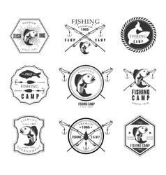 Vintage pike fishing emblems labels and design vector