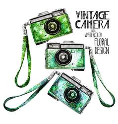 watercolor vintage retro camera vector image vector image