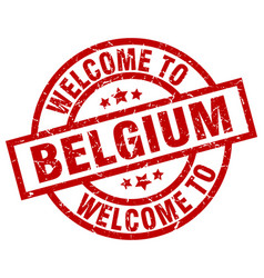 Welcome to belgium red stamp vector
