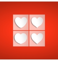 White paper hearts Valentines day card on red vector image