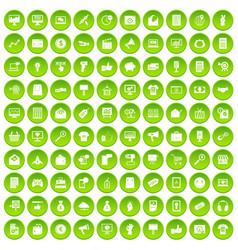 100 internet marketing icons set green circle vector
