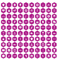 100 sport team icons hexagon violet vector