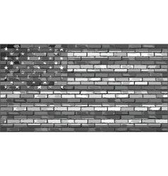 Black and white usa flag on a brick wall vector