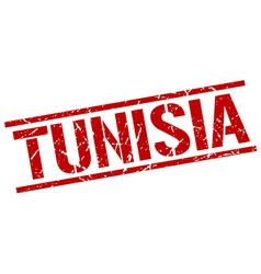 Tunisia red square stamp vector
