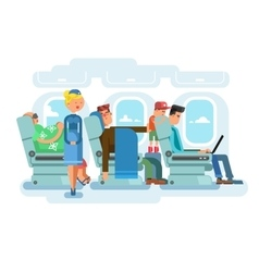 Interior of plane flat design vector