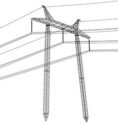 Silhouette of high voltage power lines vector
