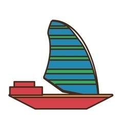 Red sailing boat travel design vector