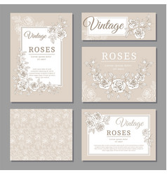 classic wedding vintage invitation cards with vector image