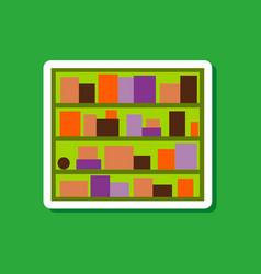 Paper sticker on stylish background bookshelf vector