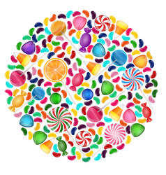 Colorful candy background with concept circle vector