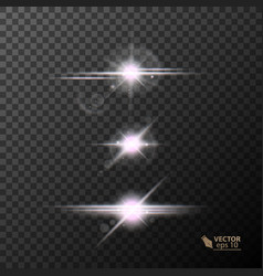 Glowing lights and stars on transparent vector