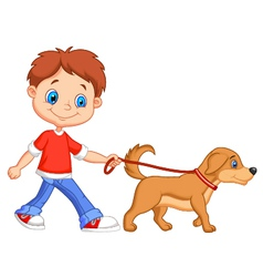 Cute cartoon boy walking with dog vector