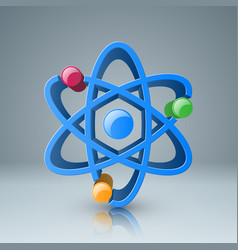 3d atom icon with color circle vector