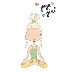 Yoga girl sitting in lotus pose hand drawn vector