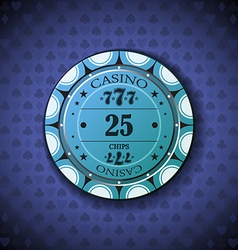 Poker chip nominal twenty five on card symbol vector