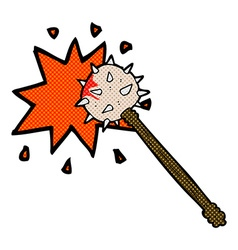 Comic cartoon bloody medieval mace vector