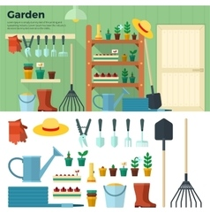 Concept of gardening tools for working in garden vector