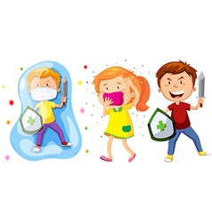 Children with shield and sword fighting germs vector