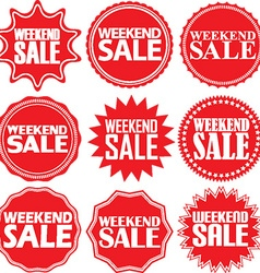 Weekend sale red label weekend sale red sign vector
