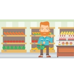 Man holding supermarket basket vector
