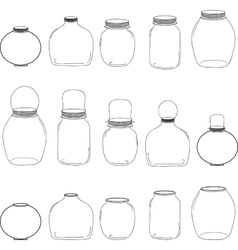 Jars set silhouettes jars vector