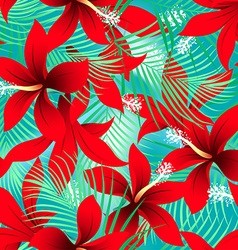 Tropical red frangipani hibiscus with palms vector image