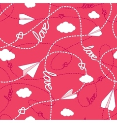 Hearts clouds paper planes love seamless pattern vector