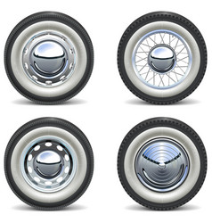 Retro car wheels vector