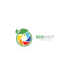 A camera shutter and leaf logo vector