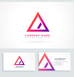abstract triangle logo with diagonal line and vector image vector image
