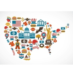 America map with many icons vector image vector image