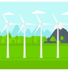 Background of wind turbines in mountains vector image