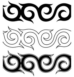 Black and white tattoo ornament pattern set vector