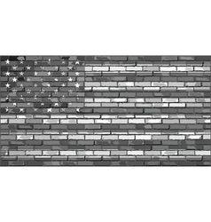 Black and white USA flag on a brick wall vector image vector image