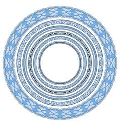 Blue colour set of round geometrical frames vector