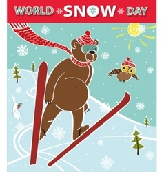 Brown bear ski jumping world snow day vector