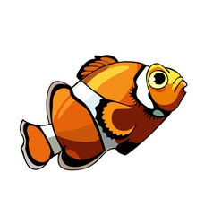 cartoon orange fish with white stripes clown fish vector image vector image