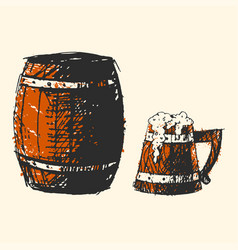 Craft beer wooden barrel pub sketch vector