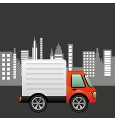 delivery car city background design vector image vector image