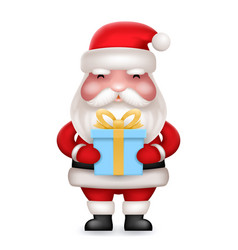 Gift box present cute 3d realistic cartoon santa vector
