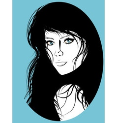 Girl with Black Hair Lineart2 vector image vector image