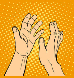 Hand showing applause deaf-mute gesture human arm vector