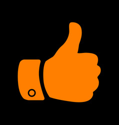 hand sign orange icon on black vector image