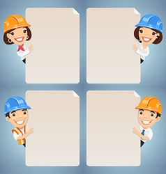manager in helmet looking at blank poster set vector image