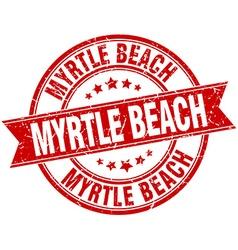 Myrtle beach red round grunge vintage ribbon stamp vector